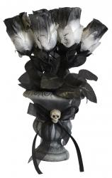 Halloween : bouquet de roses blanches