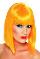 perruque orange coupe carre femme avec frange