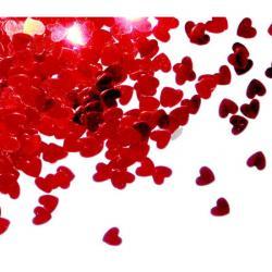 confettis de table coeurs rouges pas cher