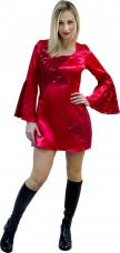 robe disco pour femme en rouge