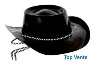 chapeau de cowboy plastique noir
