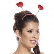serre tete antenne coeur paillettes rouge