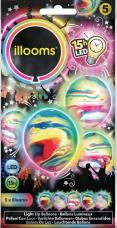 ballons multicolores lumineux marbres