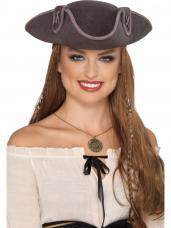 chapeau pirate tricorne gris