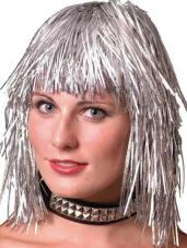 perruque metallisee gauffree argent