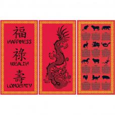 set de 3 decorations chine