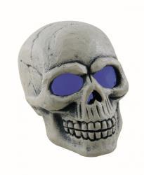 Halloween : crâne polystyrène avec yeux lumineux