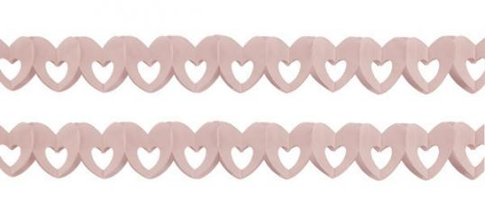 sachet de 2 guirlandes papier coeur rose
