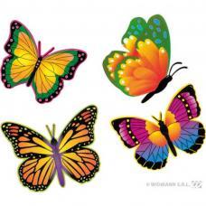 lot de 4 papillons fluo