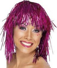 perruque metallisee gauffree rose