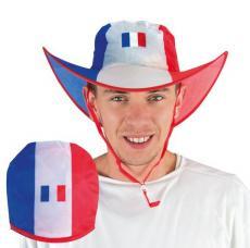 chapeau supporter tricolore pliable