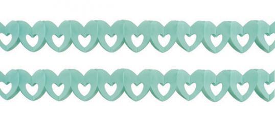 sachet de 2 guirlandes papier coeur bleu