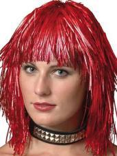 perruque metallisee gauffree rouge