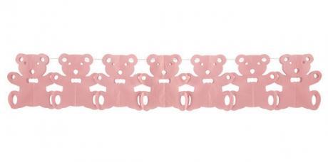 guirlande papier ourson rose
