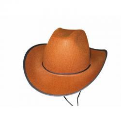 Chapeau cowboy marron pas cher avec cordelette