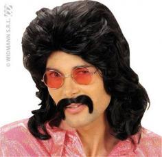 perruque noire pour homme annee 70