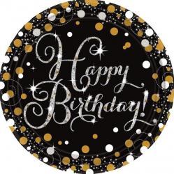 Assiettes carton noir Happy Birthday