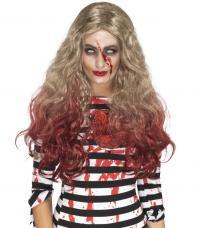 perruque blonde ensanglantée luxe zombie