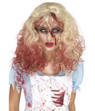 perruque blonde de zombie ensanglantée