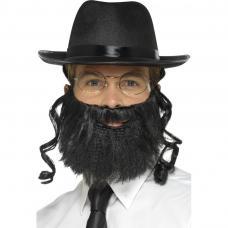 chapeau rabbin avec papillottes barbe et lunettes