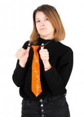 cravate sequin disco orange