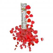 canon a confettis petales de rose rouge