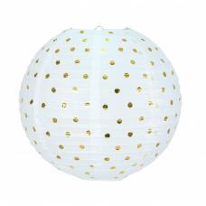 lanterne japonaise blanche a pois or
