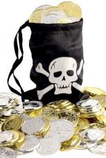 bourse de pirate avec pieces d'or