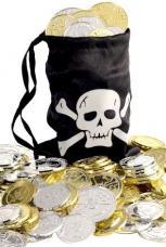 bourse de pirate avec pieces d'or