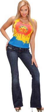 Déguisements T-shirt Hippie Tie Dye Femme