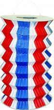 40 lampions cylindriques bleu blanc rouge