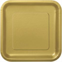 Assiettes Carrées Or en Cartons pas cher