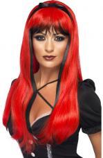 perruque sorciere noire et rouge longue