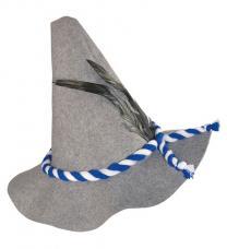chapeau bavarois gris avec plumes