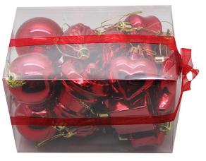 coffret de 20 decorations de noel rouge