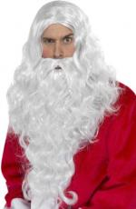 Perruque longue santa blanche avec barbe