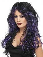 Perruque gothique noire et violette
