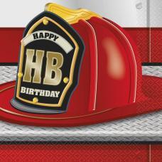 16 serviettes anniversaire pompier