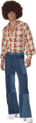 Déguisements Pantalon Hippie Homme Patchwork