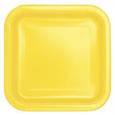 assiettes carrees jaune