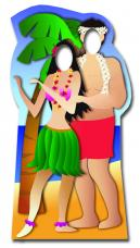 figurine geante passe tete couple hawaien