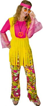 Déguisement hippie flower power jaune femme