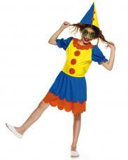 deguisement de petite clown jaune et bleu