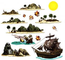 set de 14 decors pirate