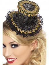 mini chapeau dentelle et or