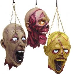 Halloween : tête zombie attachée à une chaîne