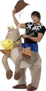 Déguisement cowboy sur cheval gonflable