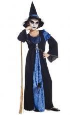 deguisement sorciere robe noire et bleue