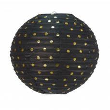 lanterne japonaise noire a pois or