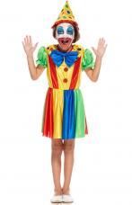 deguisement de petite clown multicolore